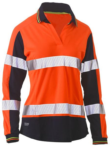 BISLEY BKL6225T WOMENS L/S TAPED TWO TONE HI VIS V-NECK POLO - ORANGE