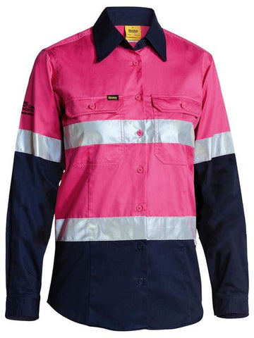 BISLEY BL6896 WOMENS 3M TAPED TWO TONE HI VIS COOL LIGHTWEIGHT L/S SHIRT - PINK