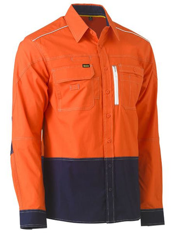 BISLEY BS6177 FLEX & MOVE™ HI VIS UTILITY SHIRT - YELLOW