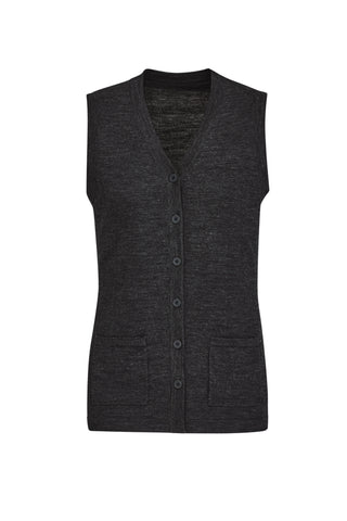 BIZCARE CK961LV BUTTON FRONT KNIT VEST - REDZ WORKWEAR + TOOLS NORTH LAKES