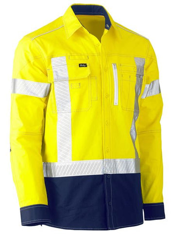 BISLEY BS6177XT HI VIS STRETCH UTILITY SHIRT L/S - REDZ WORKWEAR