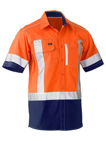 BISLEY BS1177XT HIVIS STRETCH UTILITY SHIRT S/S - REDZ WORKWEAR + TOOLS NORTH LAKES