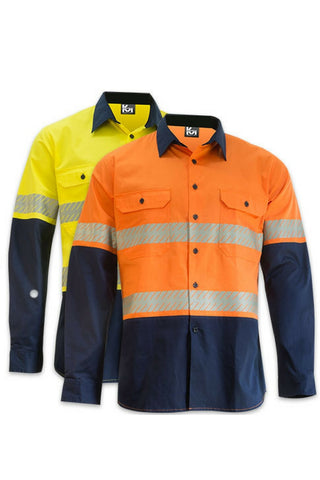 KM M2331TV HIVIS TAPED SHIRT L/S - REDZ WORKWEAR + TOOLS NORTH LAKES