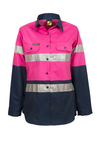 WORK CRAFT WSL503 HIVIS D+N LADIES L/S - REDZ WORKWEAR + TOOLS NORTH LAKES