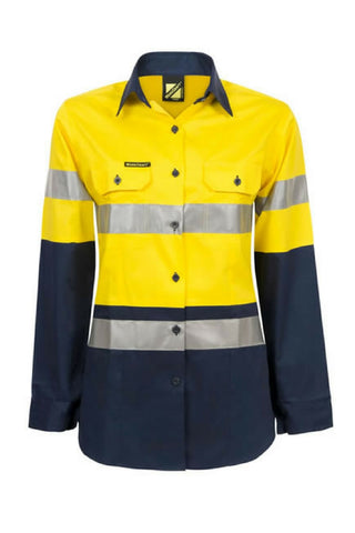 WORK CRAFT WSL501 HIVIS D+N LADIES L/S - REDZ WORKWEAR + TOOLS NORTH LAKES