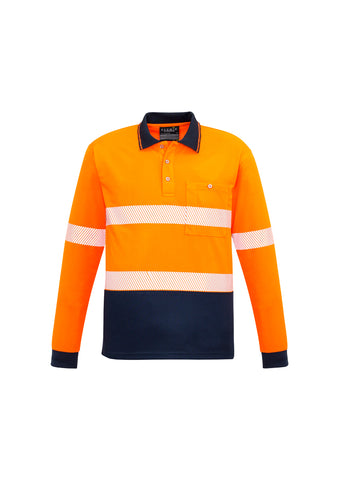 SYZMIK ZH530 UNISEX HI VIS SEGMENTED L/S POLO - HOOP TAPED
