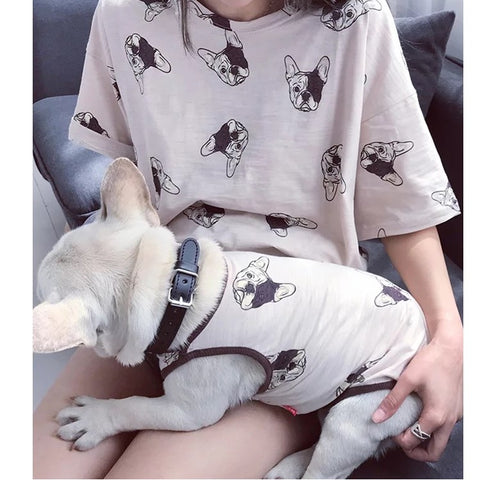 Matching Pet Owner Set - Short Sleeve Frenchie Print