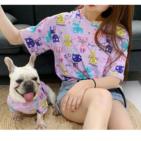 Matching Pet Owner Set - Purple Kitty Doodle Print Clothing Tee Tshirt