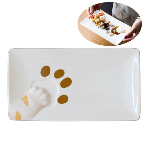 Cat Kitty Paw 3D Design Jewelry Trays Dessert Platter - Orange/ Cream Paw