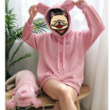 Matching Pet Owner Set - Long Sleeve Bear Ears Hoodies, Pink