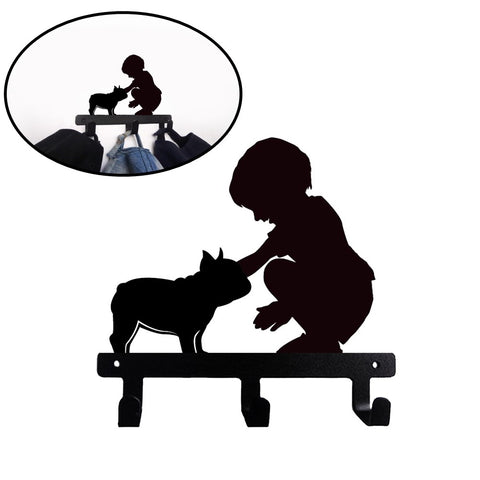 French Bulldog Shaped Wall Mounted Hook Rack - Kid and Frenchie