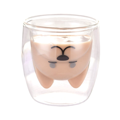 Double Wall Cute Dog Shaped Drinking Coffee Tea Glass, 1 Pcs