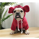 Matching Pet Owner Set - Long Sleeve Bear Ears Hoodies, Red