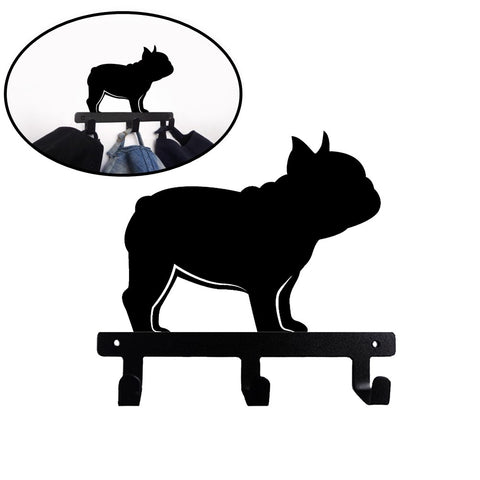 French Bulldog Shaped Wall Mounted Hook Rack - Side View Frenchie