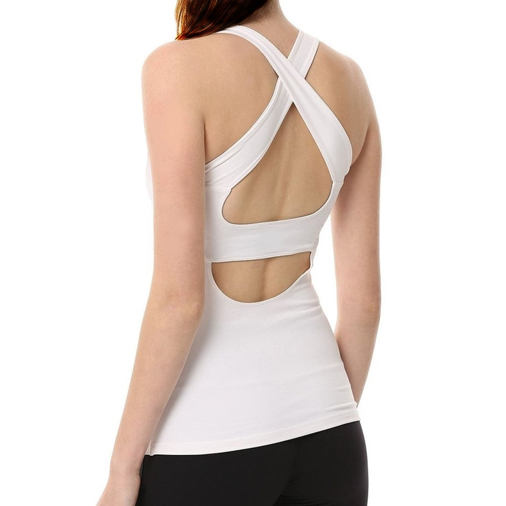 285653aeae7130 Open Back Cross-back Workout Athletic Backless Shirt Yoga Tank Top with  Built in Bra ...