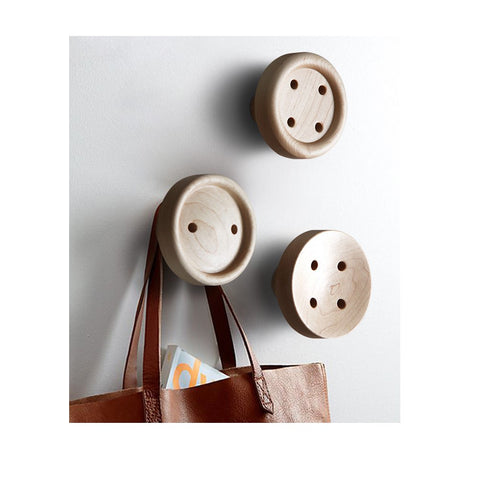 Minimalist Button Bamboo Wooden Wall Hooks, set of 3