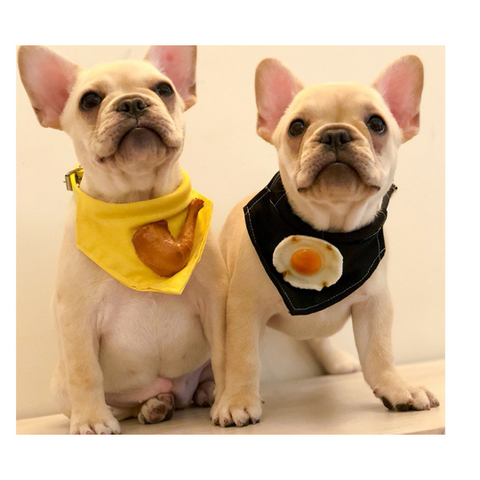 Dog Cat Bandana with Chicken Leg or Fried Egg