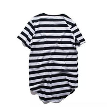 Mens Urban Style Longline T Shirts Extended Stripe Short Sleeve Swag