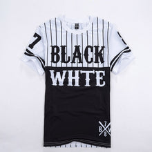 Casual Baseball Black White Short Sleeved T-shirt