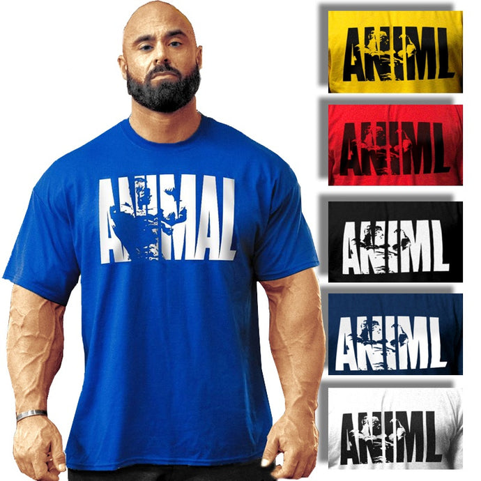 Man T-Shirt Casual Animal Short Sleeve Sport GYM Suit