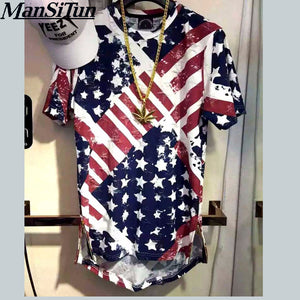 USA American Flag Fitness Short-Sleeved T-Shirt