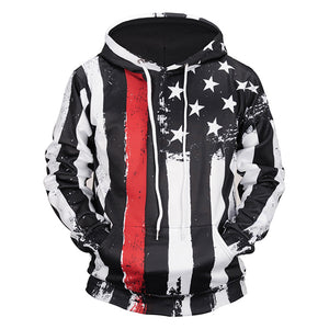 3D Print USA Flag Sweatshirts Pocket Streetwear