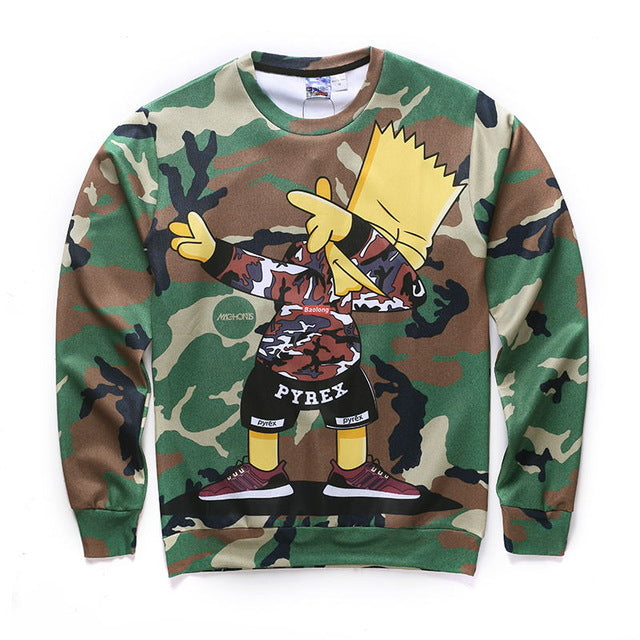3D Bart Dab Army Fatigue Sweatshirt
