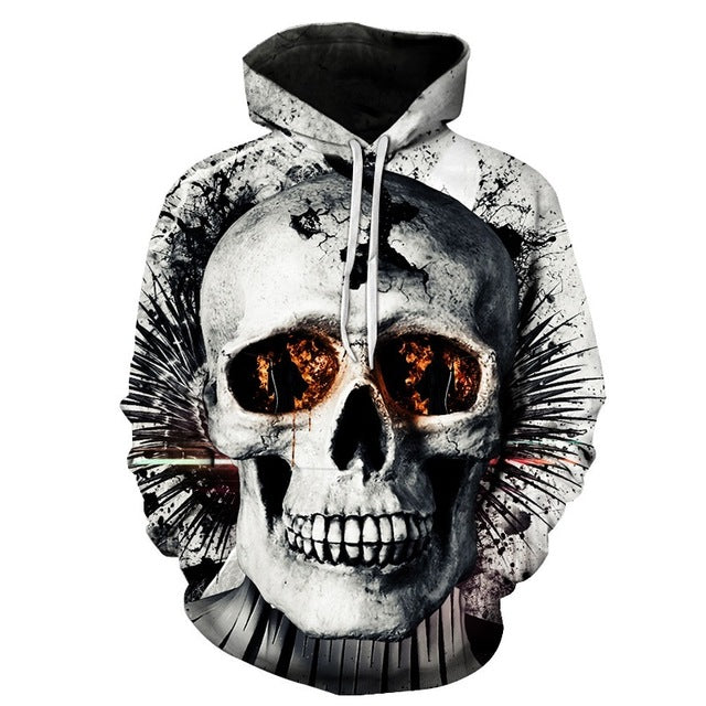 White on White Cracked Skull 3D Hoodie