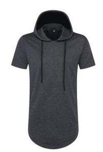 Mens Longline Curve Hem Hooded T-Shirt