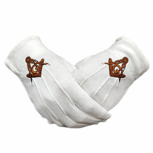 Masonic Golden G Symbol White Gloves