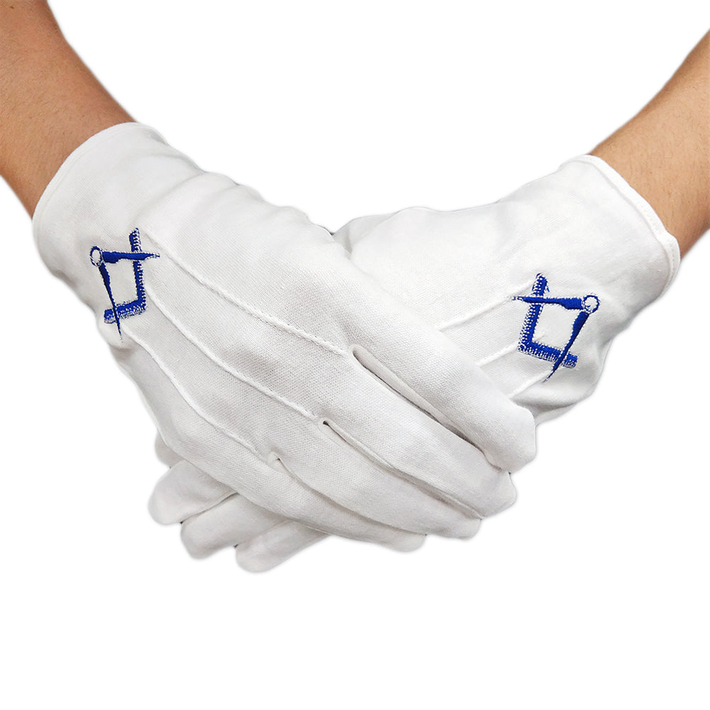 Masonic U.S. Blue Square & Compass White Gloves