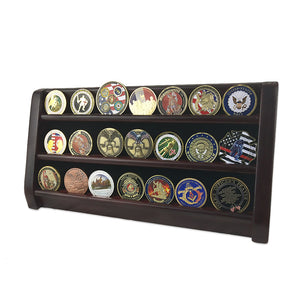 Wooden Challenge Coins Display Rack Deep Cherry Finish 3 Rows/Shelves