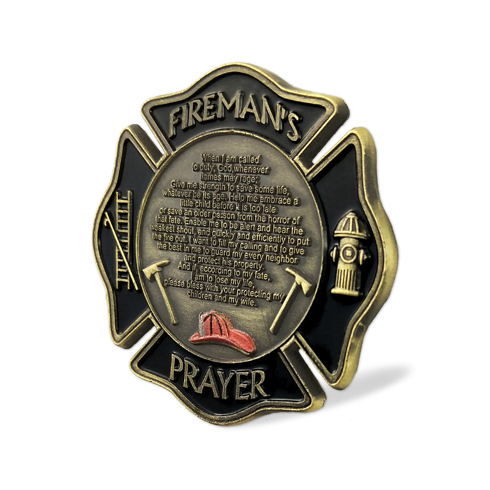 US Fireman's Prayer Firefighter Challenge Coin