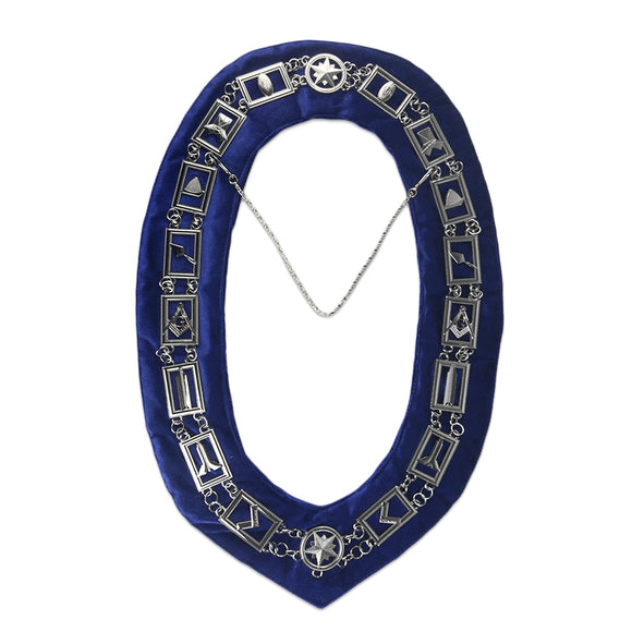 Masonic Craft Working Tools Blue Velvet Backing Silver Chain Collar