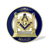 Mason Double Columns Round Blue & Gold Car Auto Emblem