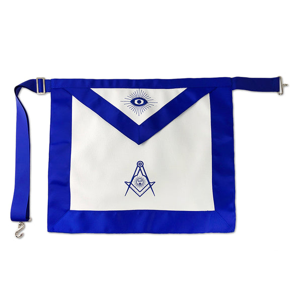Masonic Blue Lodge Leather Apron Featured with Senior Deacon Compass Symbol (Royal Blue)