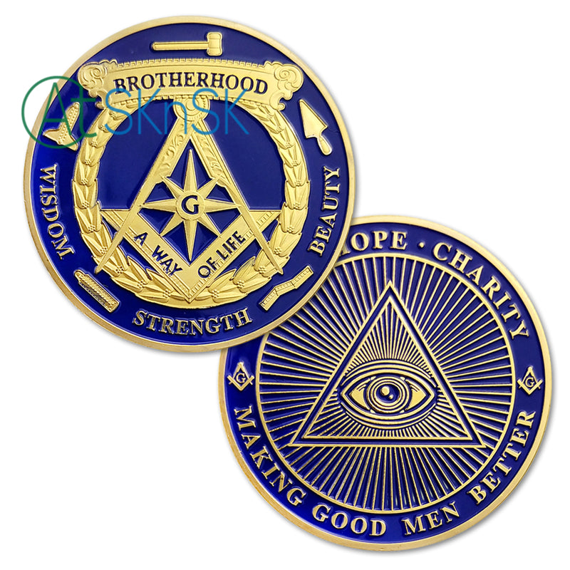 All-Seeing Eye Of Freemasonry's Challenge Coin Gold Edition