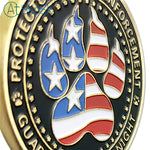Police Of United States' Dogs Of K-9 Challenge Coin Antique Bronze Edition