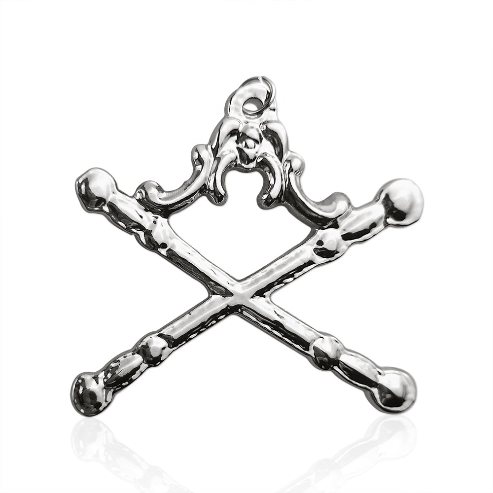 Masonic Tyler Sliver Jewel Pendant Double Sword