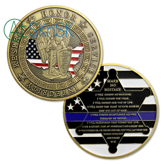 U.S. Police Officers Motto Blue Lives Matter Armor of GOD Challenge Coin