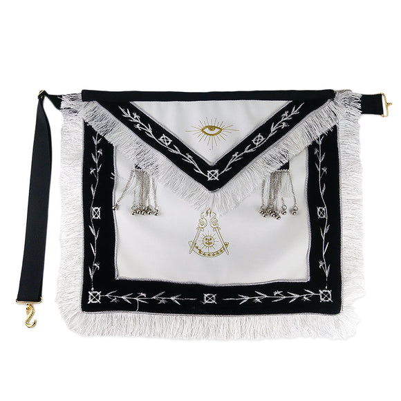 Masonic Blue Lodge LEATHER Cover Apron Olive White Embroidery Tassels Silver Beads Featured with the Past Master Symbol