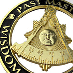 Masonic Past Master Round Black Car Auto Emblem