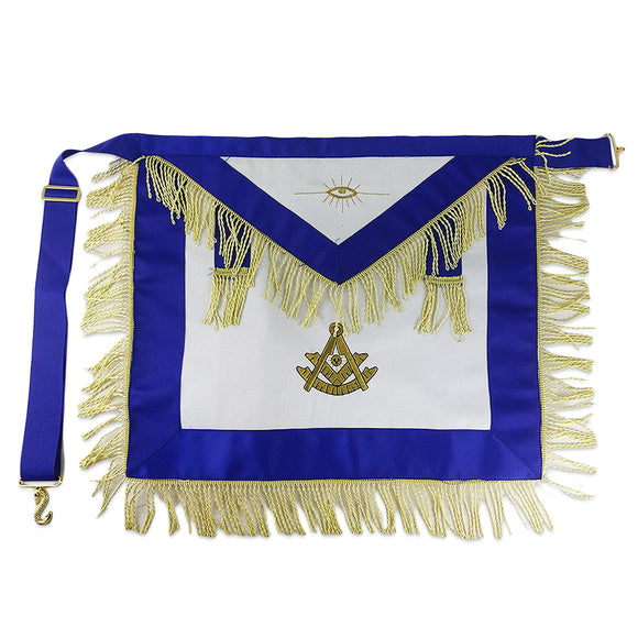 Masonic Blue Lodge Cotton Fabric Gold Tassels Apron Featured with the Past Master Symbol