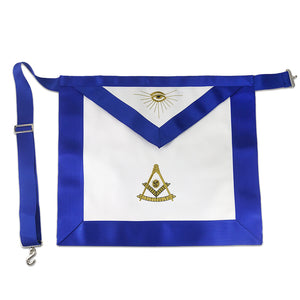 Masonic Blue Lodge LEATHER Cover Royal Blue Apron Featured with the Past Master