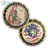 Fire Fighter Of United States' Department With St. Florian Challenge Coin Antique Bronze Edition