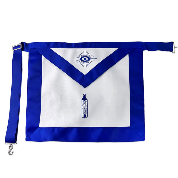Masonic Blue Lodge Leather Apron Featured with Junior Warden Plumb Symbol (Royal Blue)