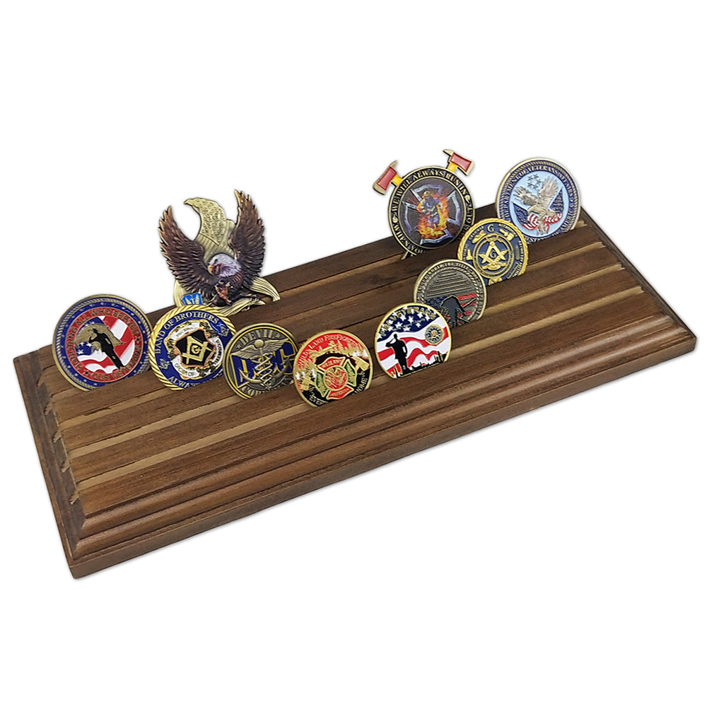 4/5 Rows Walnut Parallel Wooden Challenge Coin Display