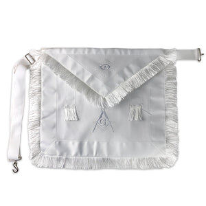Masonic Blue Lodge Master Mason White Apron w/ Fringe