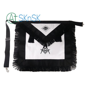 Masonic Master Mason  Cotton Fabric Black Tassel Apron Featured with Compass & Square G Symbol