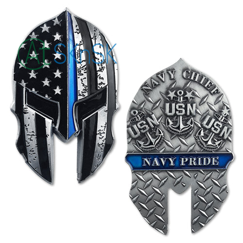 United States Navy Chief Helmet Challenge Coin